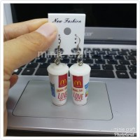 ANTING CUP MC DONALDS, STARBUCKS EARING EARINGS GIFT