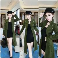 JES-PS2173 outwear coat kerah kancing panjang army wanita import korea