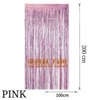 backdrop foil pink/ tirai rumbai / foil fringe curtain / tirai foil