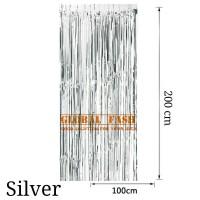 backdrop foil silver/ tirai rumbai / foil fringe curtain / tirai foil