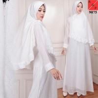 Baju Gamis Wanita / Gamis Jumbo / Muslim Putih #9075 JMB