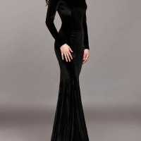 Longdress Velvet Hitam