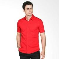 kemeja pria merah polos lengan pendek satu saku atau kantong satu