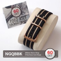 Nato Strap Gold Tali Jam Tangan Nylon Kain 18mm 20mm 22mm 24mm NGQBBK