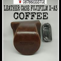 LEATHER CASE CAMERA BAG TAS KAMERA FUJIFILM X-A3 XA 3 FUJI XA3 COFFEE