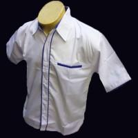 Kemeja Polos Putih Lis Biru