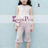 Setelan Baju Anak Perempuan 2in1 Set Korea Pink Nicole