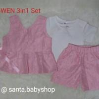 Setelan baju anak perempuan Korea Pink 3in1 Set