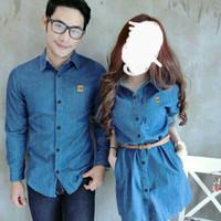 STLC - COUPLE DRESS & HEM DENIM BLUE CERAH