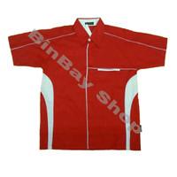 Kemeja Seragam Drill Merah kombinasi Putih