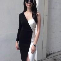 Midi dress Scuba HItam putih