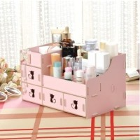 [01] Rak kosmetik bahan kayu Desktop storage kitty cat