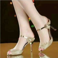 heel 46 gold sepatu sandal slop hak tinggi high heels kerja wanita