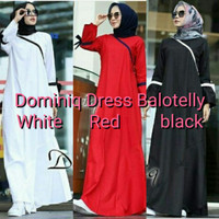 Gamis hitam / Dress Putih / Baju hijab murah : Dominiq dress -D121