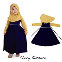 Baju Anak Muslim Long Dress Dres Maxi Maxy Syari Gamis Navy Cream
