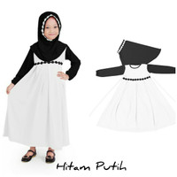 Baju Anak Muslim Long Dress Dres Maxi Maxy Syari Gamis Hitam Putih