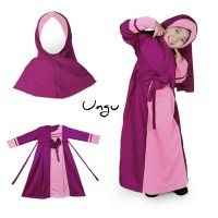 Baju Anak Muslim Long Dress Dres Maxi Maxy Gamis Bahan Ballotely Ungu
