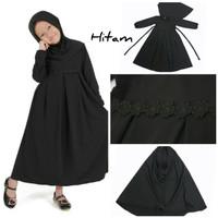 Baju Anak Muslim Long Dress Dres Maxi Maxy Syari Gamis Renda Hitam