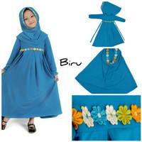 Baju Anak Muslim Long Dress Dres Maxi Maxy Syari Gamis Renda Biru