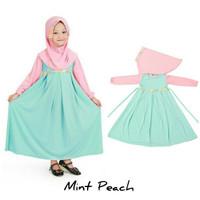 Baju Anak Muslim Long Dress Dres Maxi Maxy Syari Gamis Mint Peach