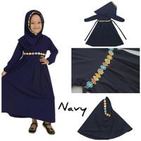 Baju Anak Muslim Long Dress Dres Maxi Maxy Syari Gamis Renda Navy