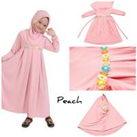 Baju Anak Muslim Long Dress Dres Maxi Maxy Syari Gamis Renda Peach