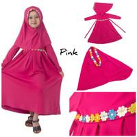 Baju Anak Muslim Long Dress Dres Maxi Maxy Syari Gamis Renda Pink