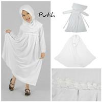 Baju Anak Muslim Long Dress Dres Maxi Maxy Syari Gamis Renda Putih