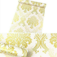 wallpaper batik gold 45cm x 10mtr || Wallpaper dinding