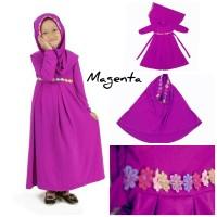 Baju Anak Muslim Long Dress Dres Maxi Maxy Syari Gamis Renda Magenta