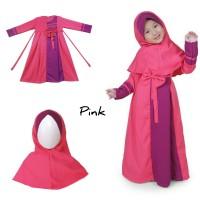 Baju Anak Muslim Long Dress Dres Maxi Maxy Gamis Bahan Ballotely Pink