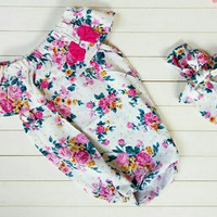 Baju bayi perempuan/Baju anak/Jumper /Romper/ Motif Bunga 6-12 month