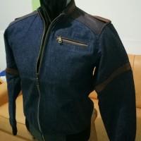 Jaket jeans kombinasi kulit domba asli garut
