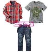 setelan suspender anak/ setalan anak import/ setalan kemeja jeans anak