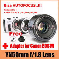 Paket Lensa Yongnuo 50mm F1.8 For Canon + Meike Mount canon to eos M