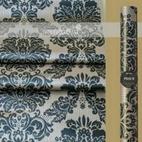 damask vintage black on brown 45cm x 10mtr || Wallpaper dinding