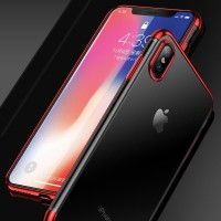CAFELE iPhone X Case - Luxury Fashion Transparent TPU Free Tempered - Hitam