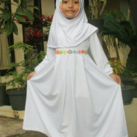 Baju Muslim Gamis Anak Perempuan Simple Dan Cantik Warna Putih