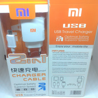 Travel Charger chasan casan usb kabel 2 in 1 xiaomi 2 amphere