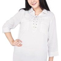 Catenzo Atasan Casual Wanita Putih Branded -  Catenzo HR 112