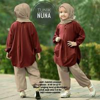 Setelan Tunik Nuna Kids 3in1 Maroon