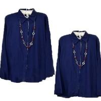 Blouse Luna Navy Lengan Panjang|Baju Atasan kemeja kerja cewek wanita