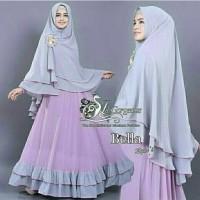 Syari Bella lavender Set Gamis Jersey Busui 2in1 fit L Besar