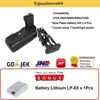 Rajawali Battery Grip BG-E8 for Canon 550D-600D-700D- Free Canon LP-E8