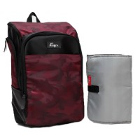 Allegra Maroon Army Diaper Backpack