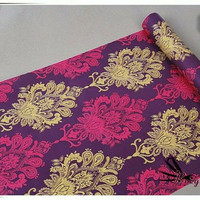 Damask vintage purple 45 cm x 10 mtr || Wallpaper dinding