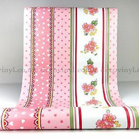 Salur bunga shabby pink 45 cm x 10 mtr ~ Wallpaper dinding sticker