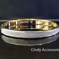 Gelang Bangle Simple Diamonds Bracelet - Two-Tone