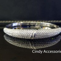 Gelang Bangle Simple Diamonds Bracelet - Silver