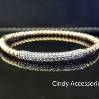 Gelang Bangle Simple Diamonds Bracelet Biji Lada - Two-Tone